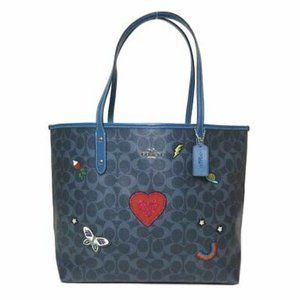 Coach Denim Blue Heart Signature Canvas Tote Bag